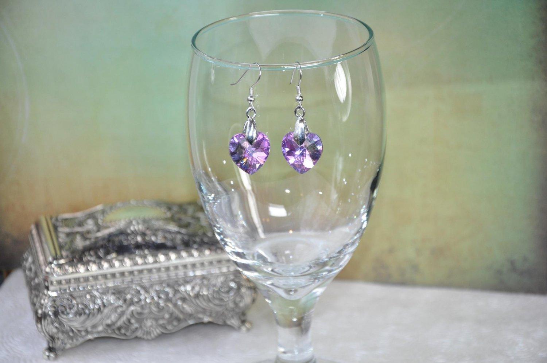 Pink Swarovski Crystal Heart Earrings