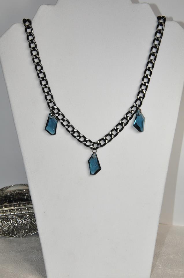 Blue Denim Swarovski Crystals Black Chain Necklace