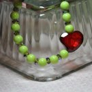 Unique Green and Red Stretchy Crystal Heart Handmade Bead Bracelet