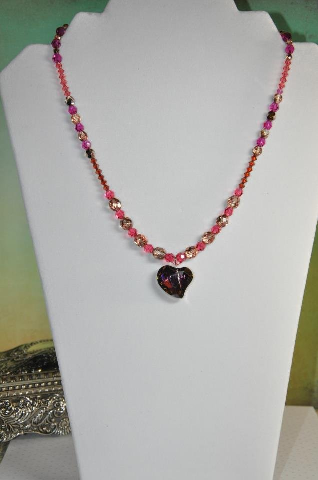 Red Purple and Pink Heart Swarovski Crystal Bead Necklace