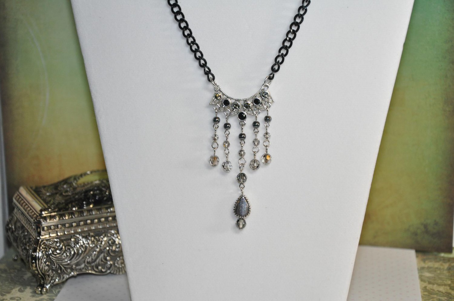 Black Chain Necklace with Swarovski Crystal Pendant