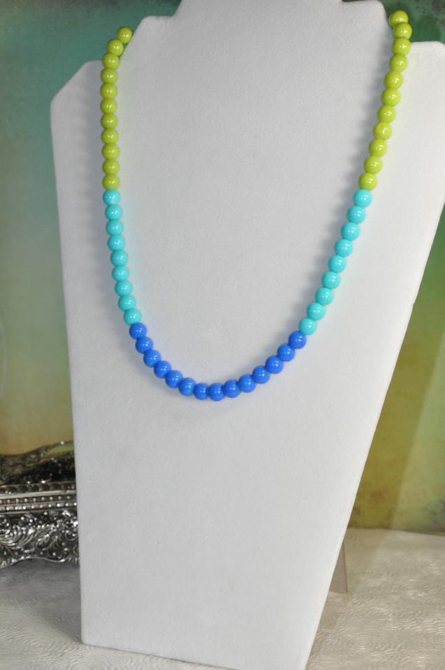 Handmade Blue Color Block Spring Bead Necklace