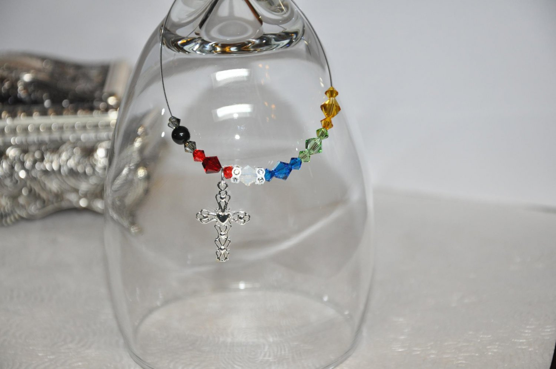 Unique Handmade Bracelet by Studio Artist w Swarovski Crystals Sterling Silver Cross Charm