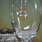 Clemson Inspired Colors Orange Swarovski Bicone Crystal Drop Bead Earrings