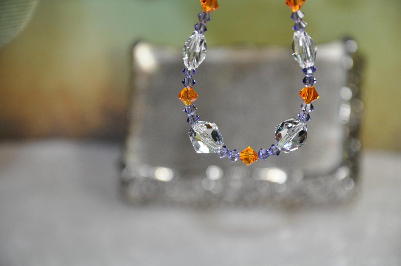 Handmade Bracelet Clemson Inspired Colors Swarovski Bicone Crystal Beads