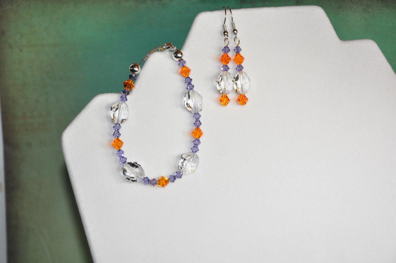 Clemson Swarovski Crystal Bicone Earring and Bracelet Set