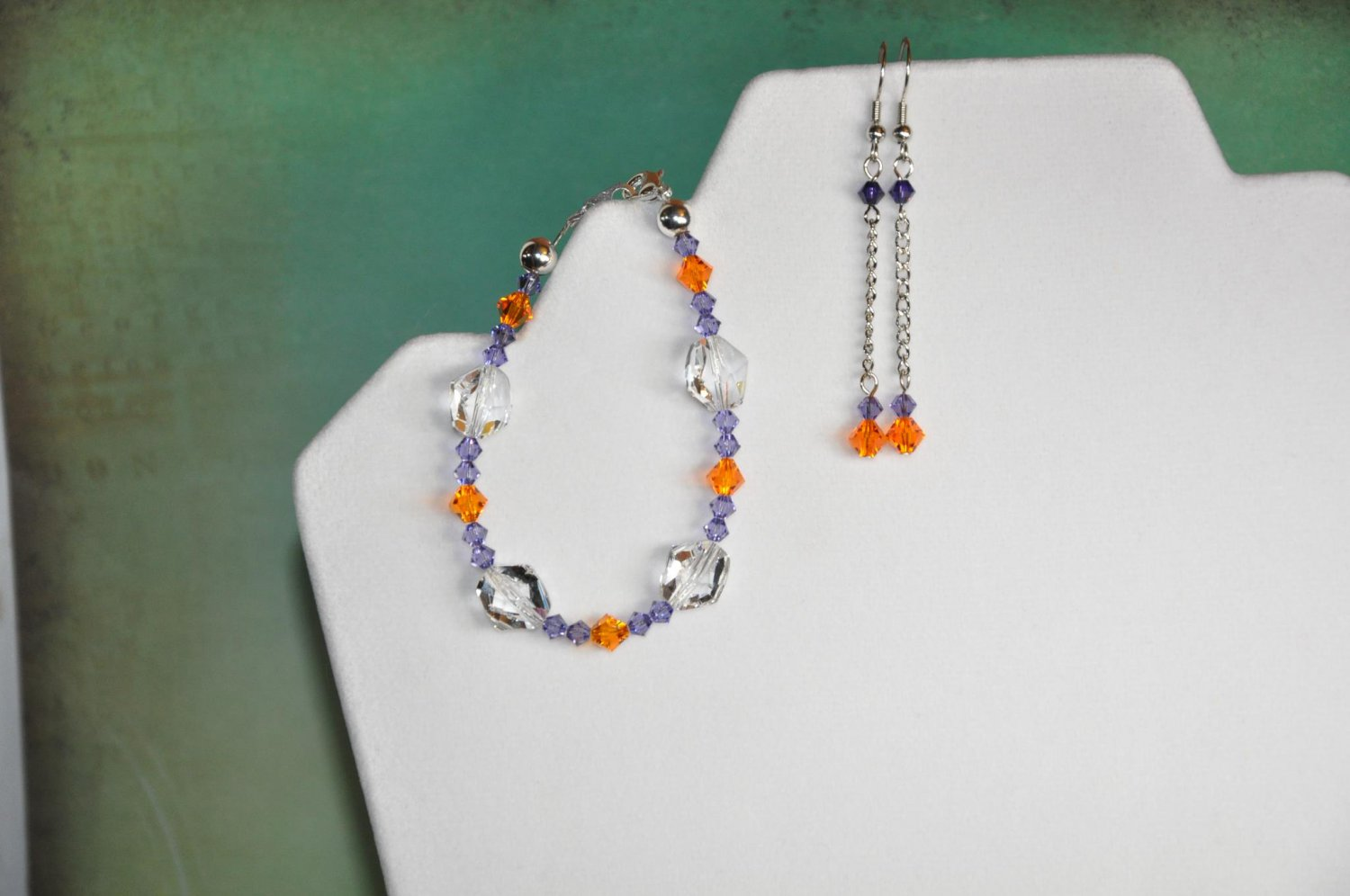 Clemson Inspired Colors Orange w Purple Swarovski Bicone Crystal Chain Earrings and Bracelet Set