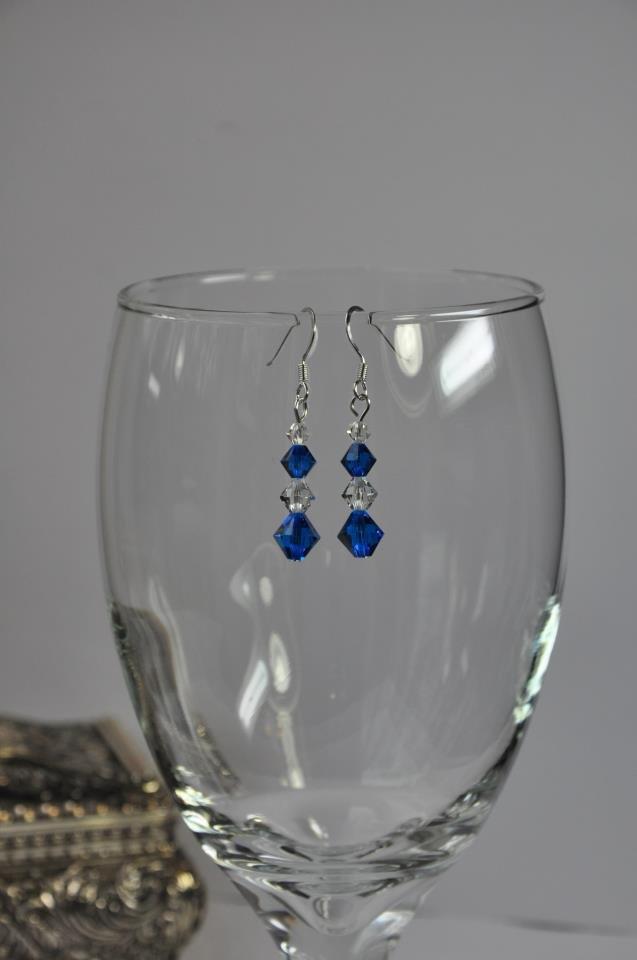 Blue Swarovski Bicone Crystal Bead Bracelet and Earring Set