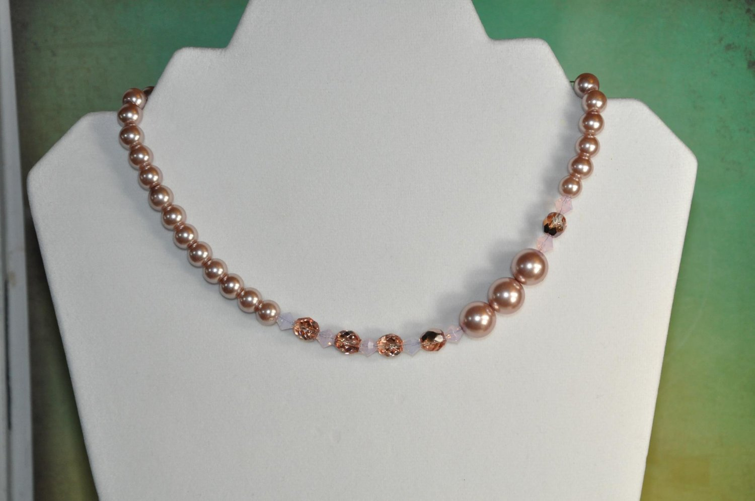 Tan Faux Glass Pearl Bead Statement Necklace Handmade