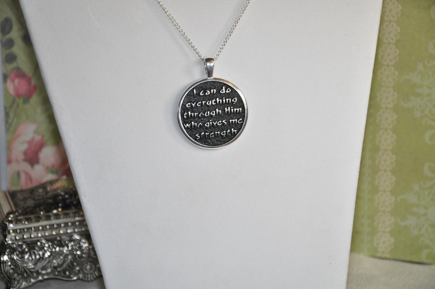 Philippians 4 13 Bible Verse Pendant Necklace