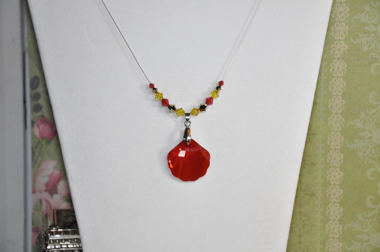 Red Seashell Swarovski Crystal Pendant Bead Necklace Handmade