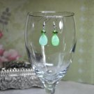 Green Spring Oval Pearl Drop Bead with Czech Crystals Earrings