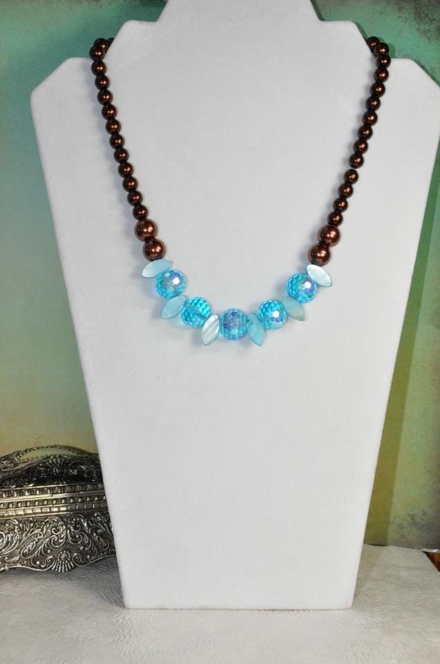 Beautiful Beachy Brown Pearl Chunky Blue Bead Necklace