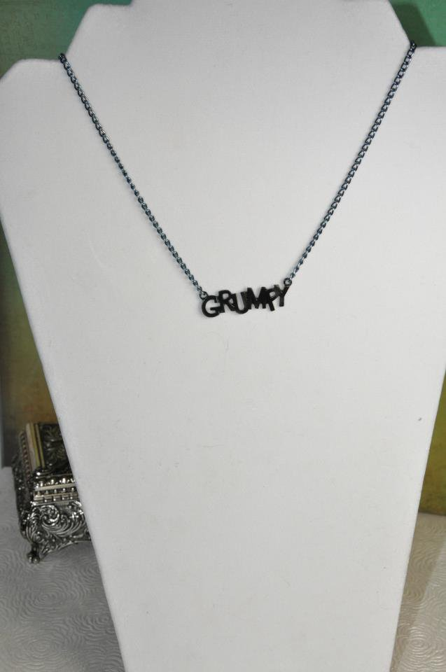 Grumpy Pendant Necklace with Black Chain