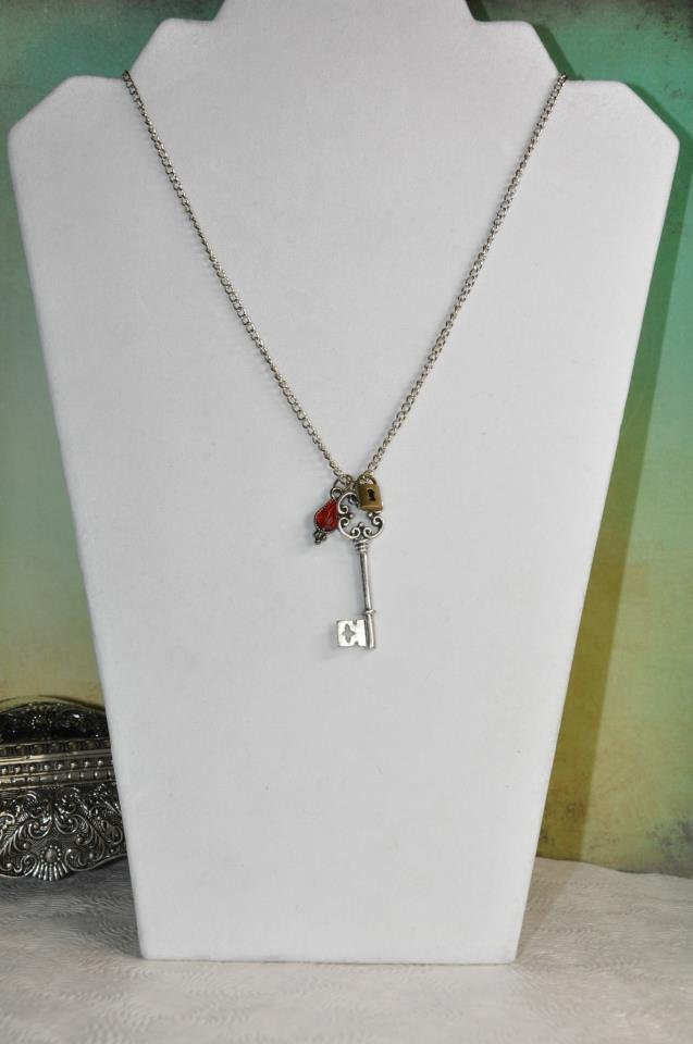 Silver Key and Lock with Red Swarovski Crystal Drop Chain Necklace Handmade