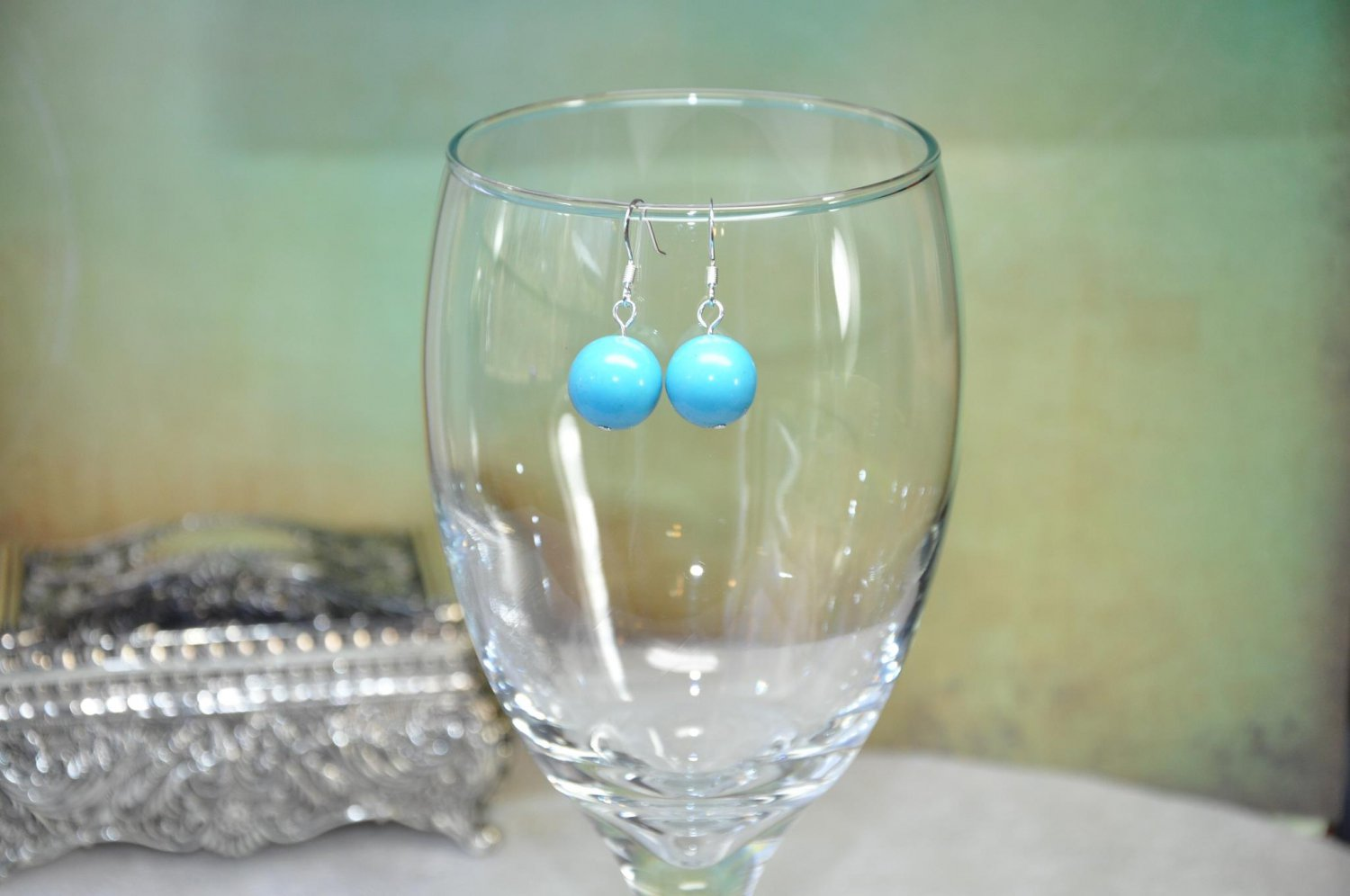 Natural Turquoise Gemstone Round Chunky Earrings