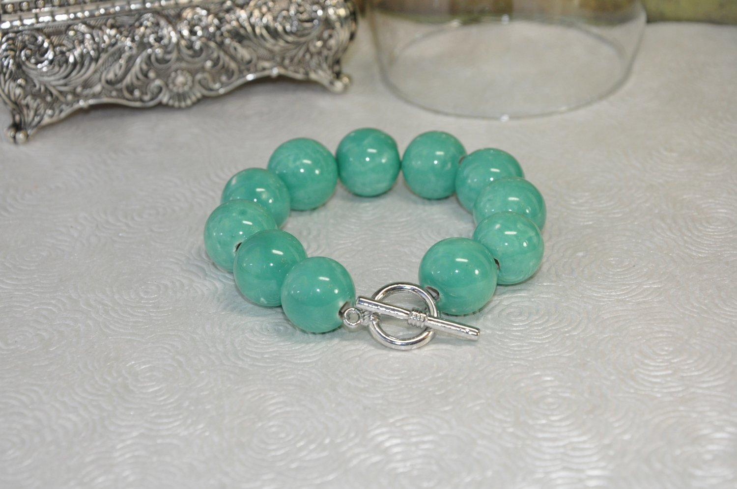 Chunky Green Round Stone Bead Bracelet handcrafted by Bead Studio Artist