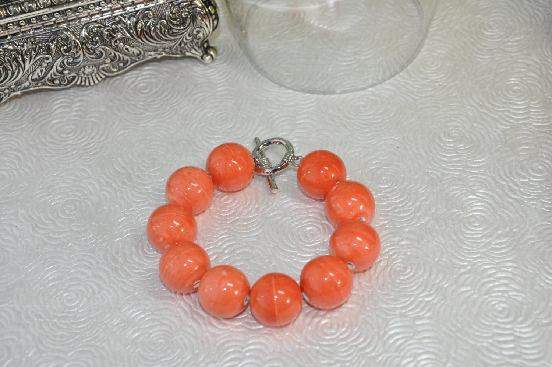 Unique Chunky Orange Stone Bead Handcrafted Bracelet by Studio Bead Artist