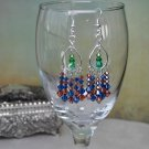 Handmade Green with Orange and Blue Swarovski Bicone Crystals Chandelier Earrings