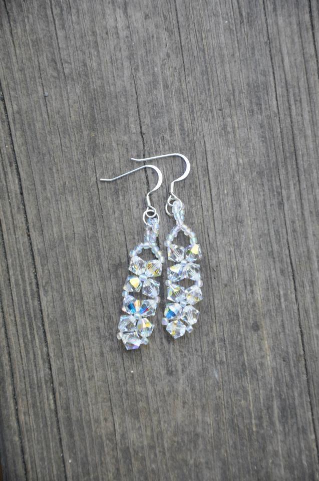 Aurora Borealis Clear Swarovski Bicone Bead Crystal Drop Earrings Handmade by Studio Artist