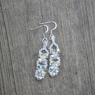 Aurora Borealis Clear Swarovski Bicone Bead Crystal Drop Earrings Handmade by Studio Artist