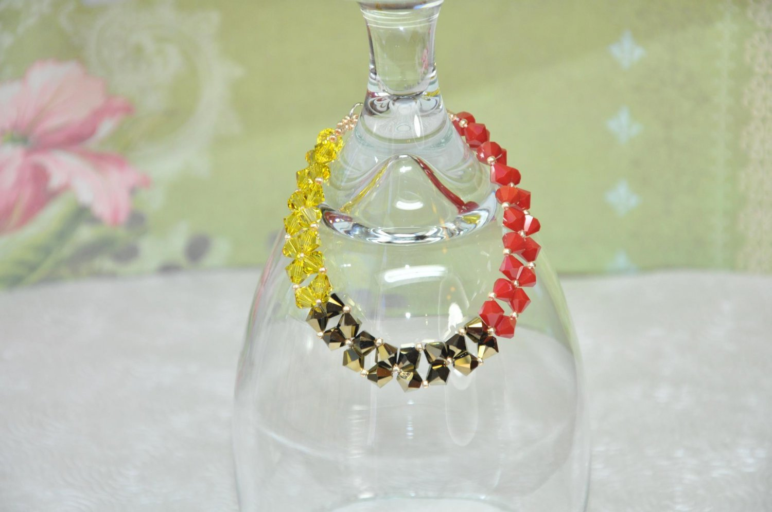 Swarovski Crystal Bracelet Hand Stitched in Yellow Gold and Red Crystal Beads