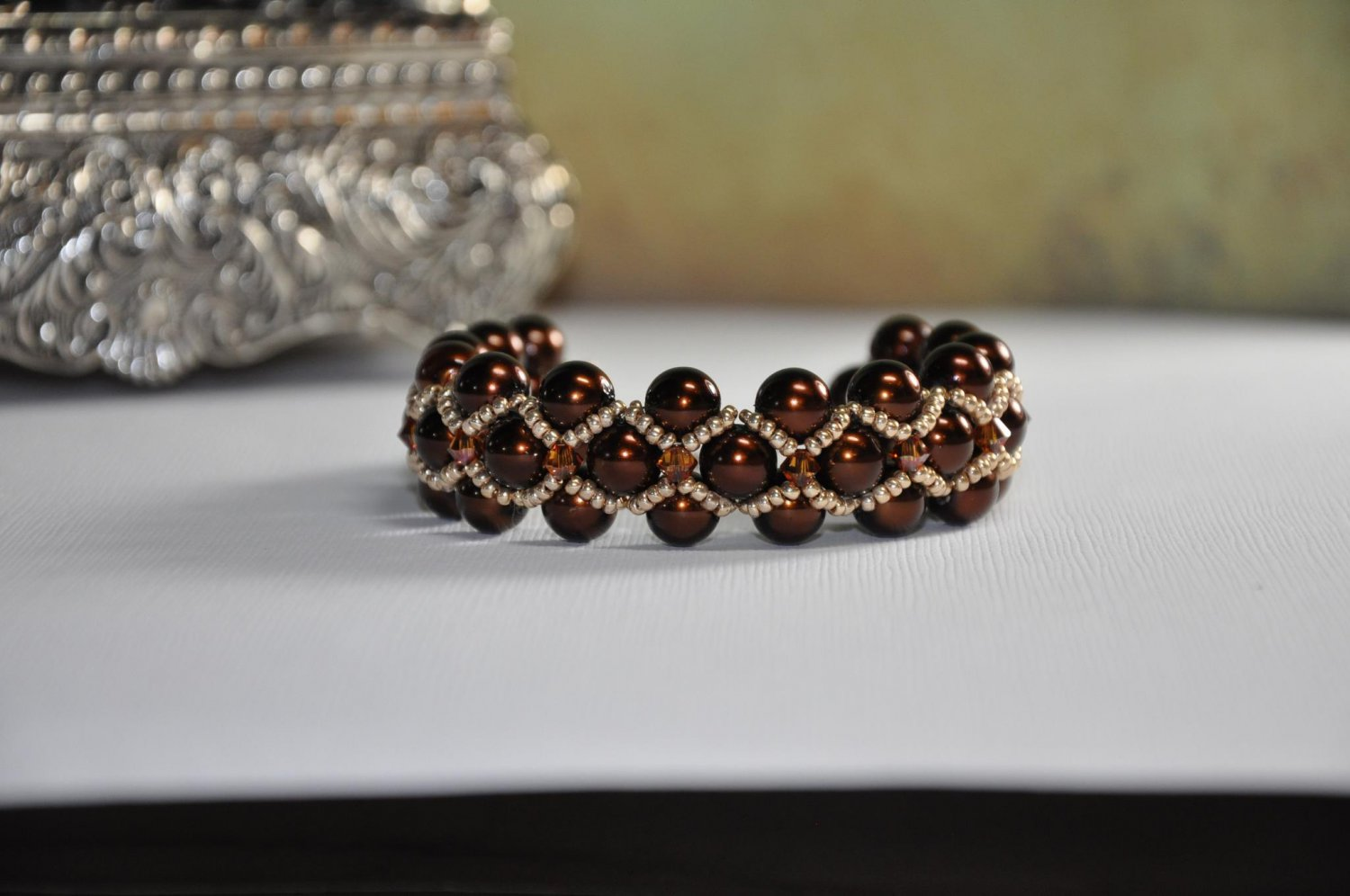 Bead Bracelet Brown Glass Pearls with Gold Seed Beads and Swarovski Crystals Handmade