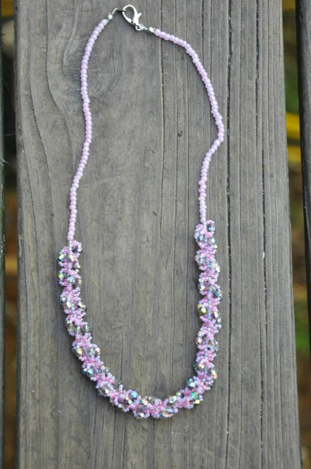 Pink Purple Hand Stitched Spiral Rope Beaded Necklace Handmade by Studio Artist