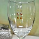 Orange With Yellow Summer Heat Swarovski Crystal Beads Handmade Drop Earrings
