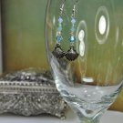 Blue Seashell By The Shore Swarovski Crystals Dangle Bead Earrings Handmade