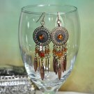 Brown Bronze Dream Catcher Chandelier Bead Earrings