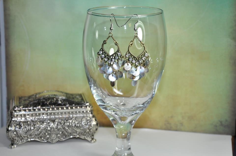 White Pearl Rhinestone Chandelier Bead Earrings