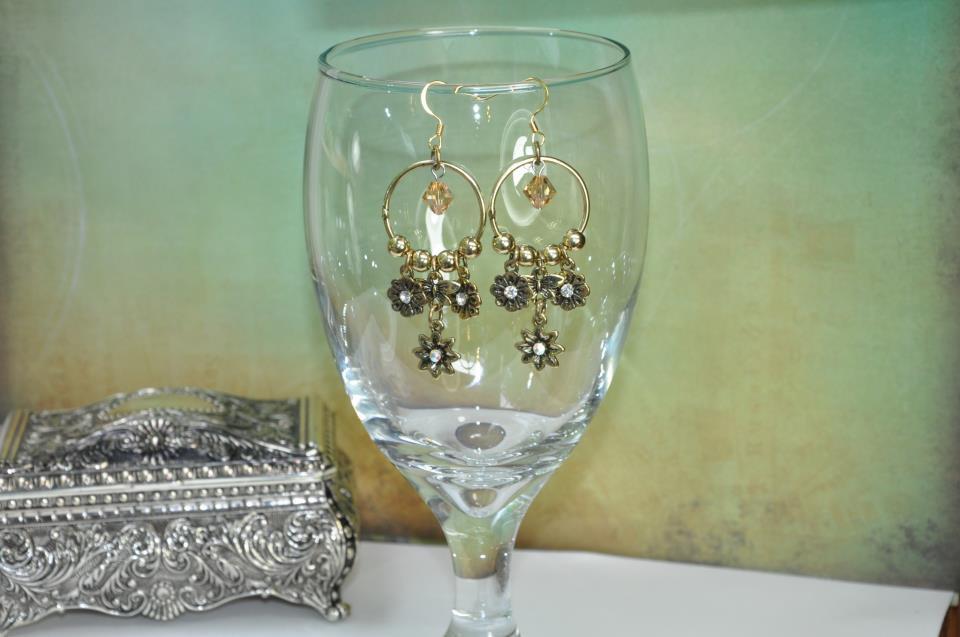 Handmade Earrings by Bead Artist Gold Flower Chandelier Hoops With Swarovski Crystals
