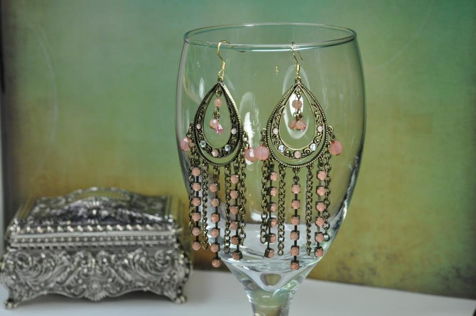 Handcrafted Earrings Pink and Copper Color Chandelier On Bead Chain with Swarovski crystals