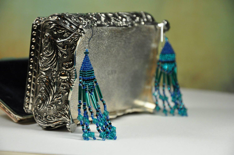 Unique Handmade Blue Green Peacock Brick Stitch Chandelier Beads Swarovski Crystals Earrings