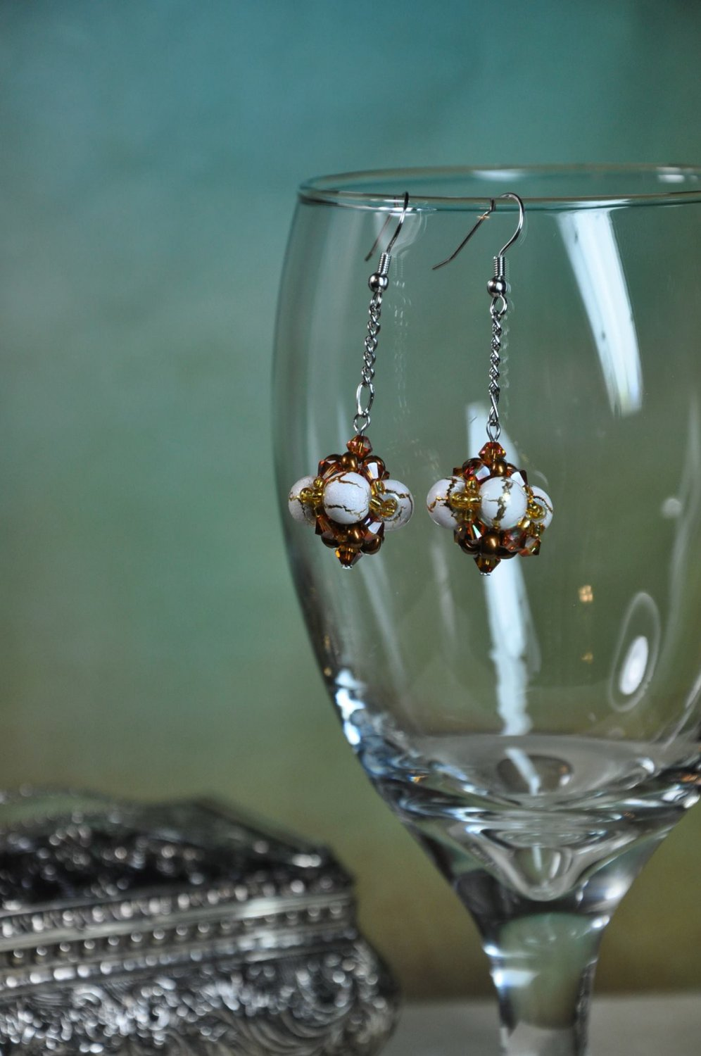 Hand Stitched Swarovski Earrings Golden Brown and Creme Bead Cluster Ball on Silver Chain