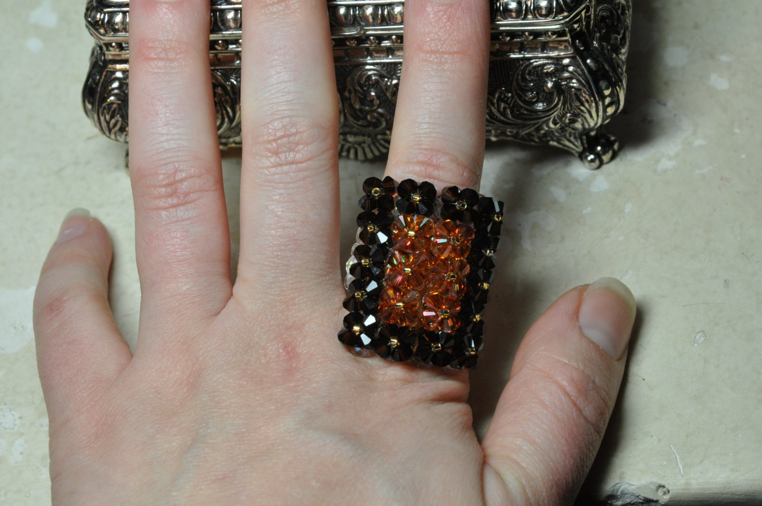 Handcrafted Swarovski Crystal Glam Square Brown Chocolate Gold Bead Ring