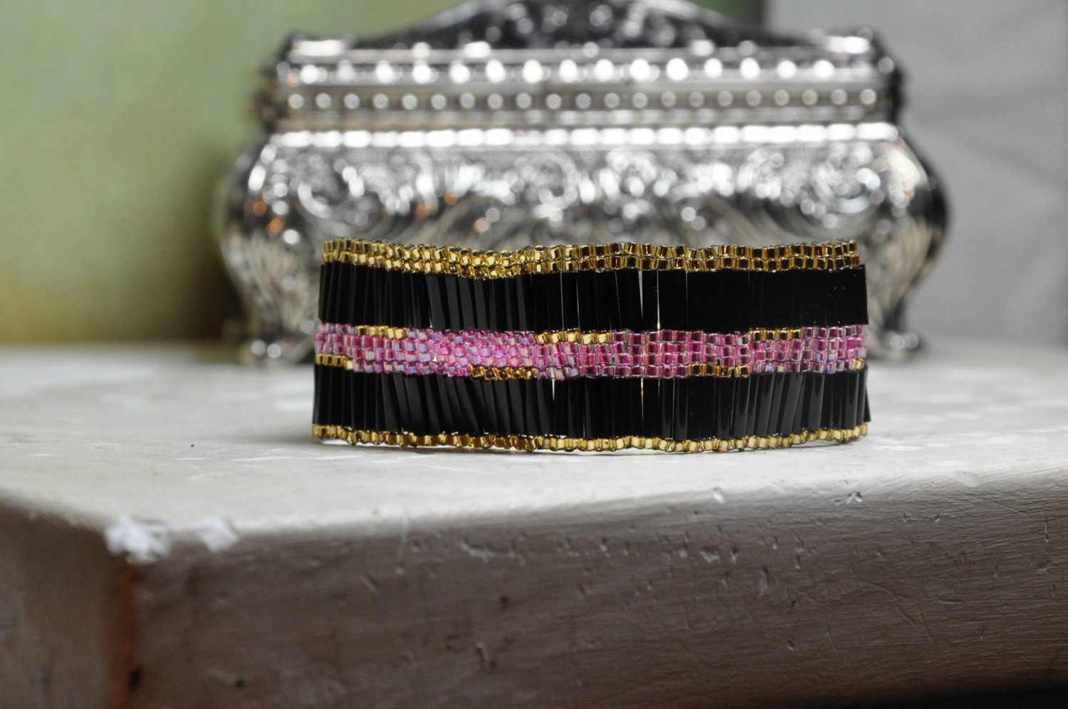 Handmade Bracelet by Studio Artist Cuff Me With Black Gold Pink Glass Beads