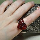 Handmade by Studio Artist My Red Black Swarovski Crystal Heart On A Ring