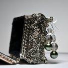 Hand Designed Chunky Trio Clear Swarovski Silver Round Dark Olive Drop Earrings