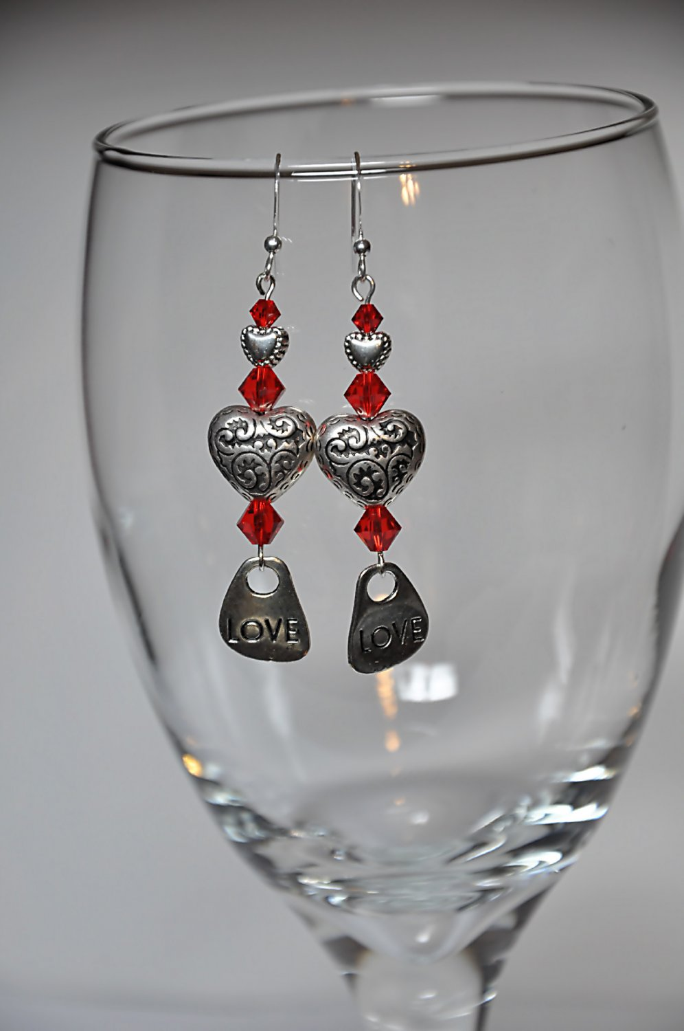 Unique Red Swarovski Crystals w Silver Hearts and Love Charm Drop Earrings By Studio Bead Artist
