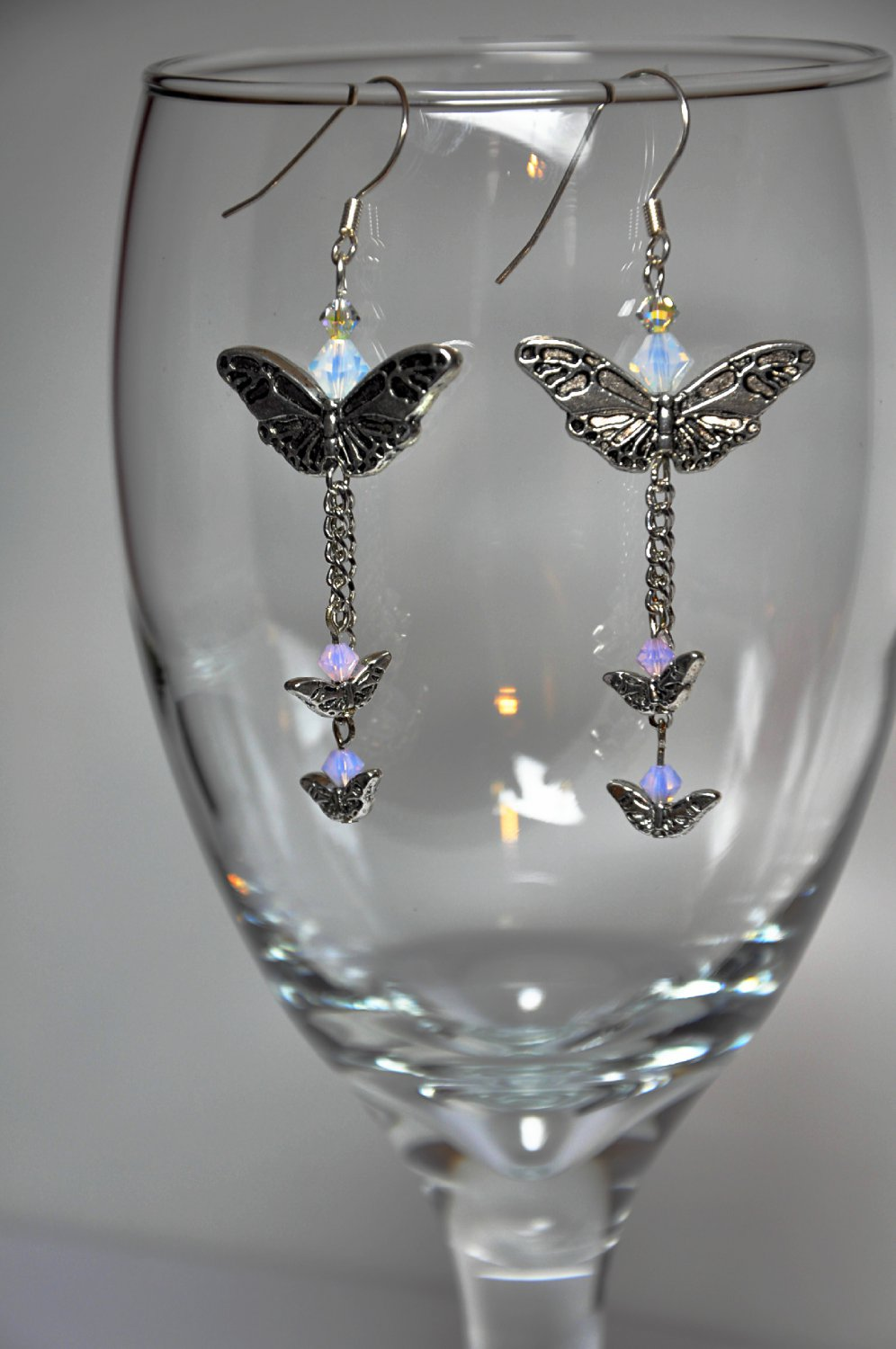 Unique Silver Butterfly Drop Earrings With Chain Rose and Violet Opal Swarovski Crystals