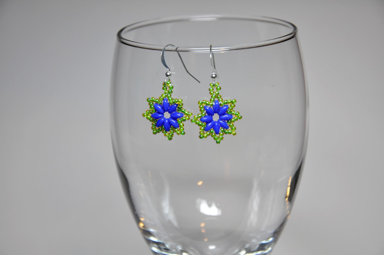 Unique Green Blue Flower Hand Stitched Bead Dangle Earrings Handmade