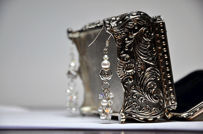 Swarovski White Pearl Cluster With Diamond Accent Charm Drop Bead Earrings Handmade