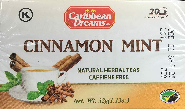 Caribbean Dreams, Cinnamon Mint, Natural Herbal Tea, 20 Tea Bags