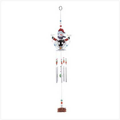 Snowman wind chime. Painted metal and acrylic.