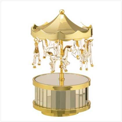 Musical Glass Circus Top Carousel