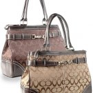 Brown Signature Jacquard Belted Tote purse Handbag