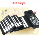 49 Keys Portable Roll Up Wonderful Music Electronic Piano with LCD Screen-Black