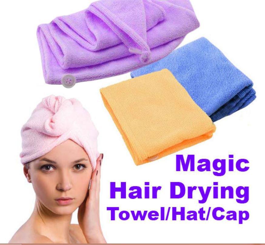 Microfiber Magic Hair Drying Towel Hat Cap Quick Dry